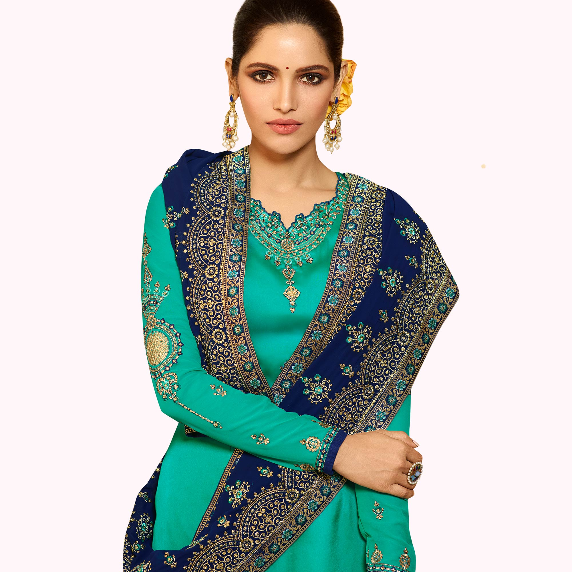 Adorning Turquoise Green Colored Partywear Embroidered Satin Georgette Salwar Suit
