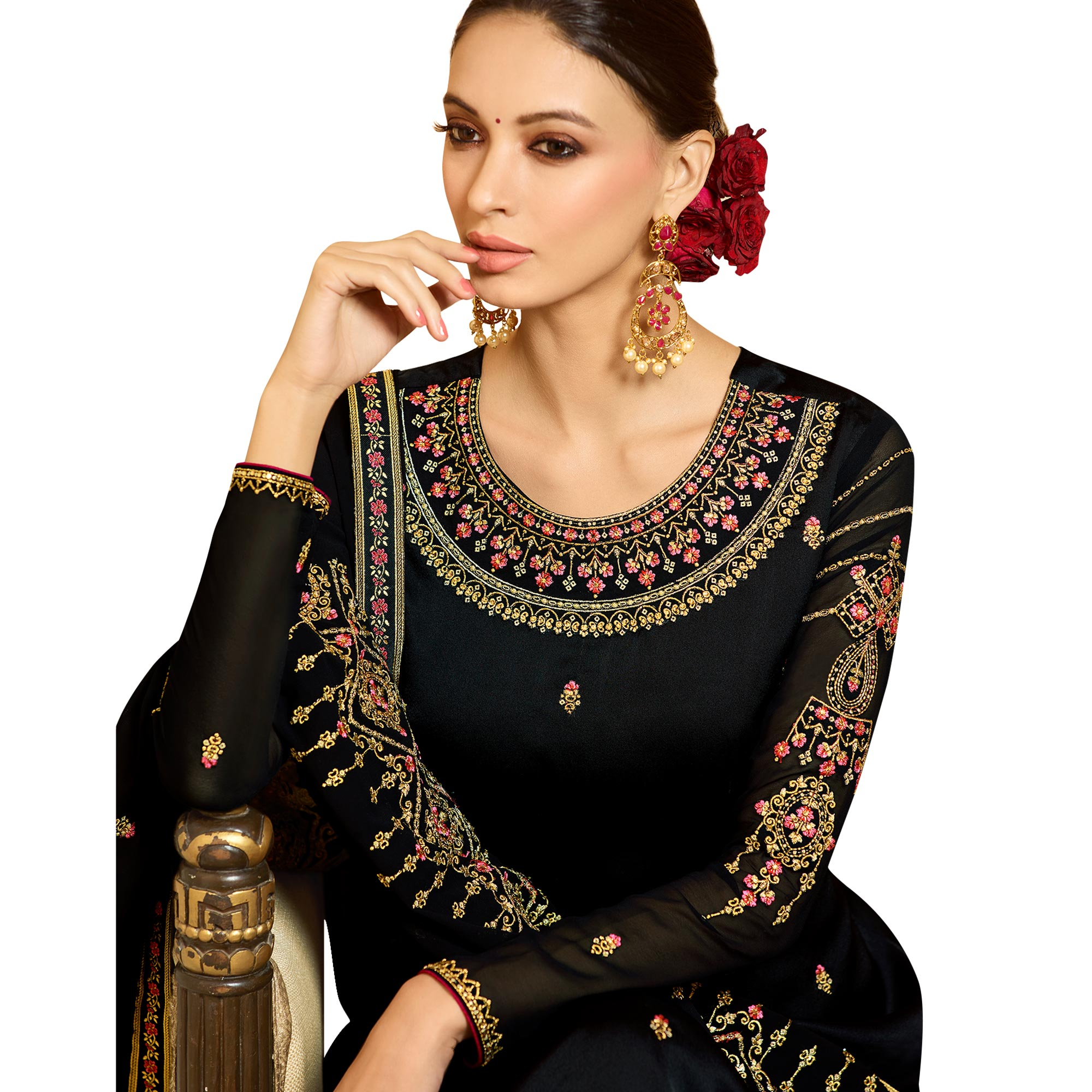 Appealing Black Colored Partywear Embroidered Satin Georgette Salwar Suit
