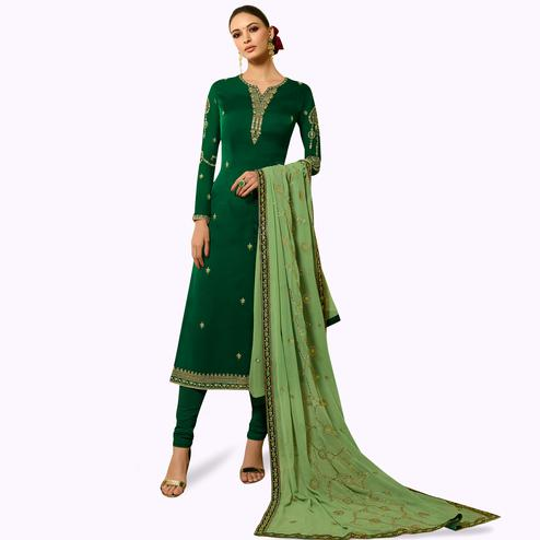 Capricious Green Colored Partywear Embroidered Satin Georgette Salwar Suit