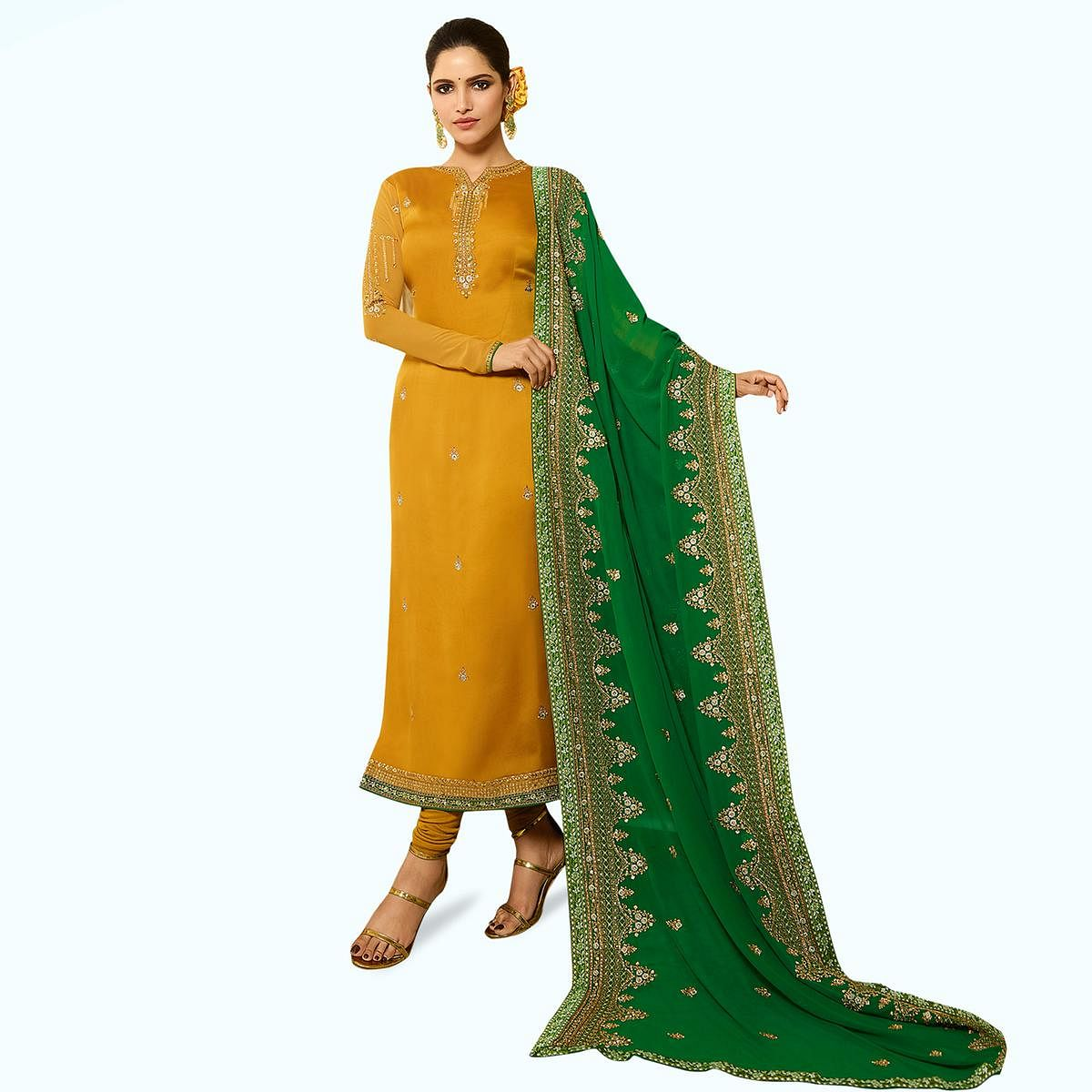 Entrancing Yellow Colored Partywear Embroidered Satin Georgette Salwar Suit