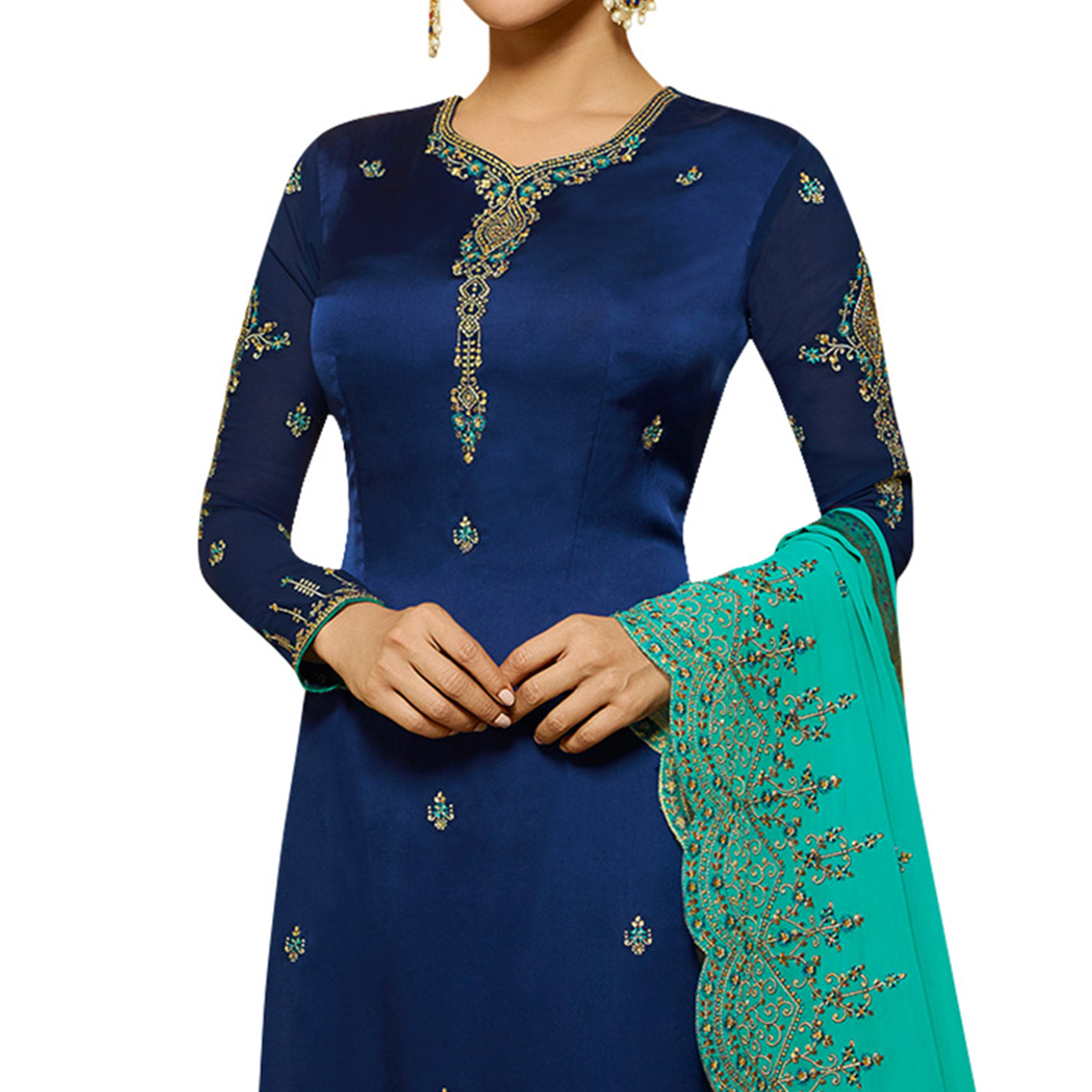 Groovy Blue Colored Partywear Embroidered Satin Georgette Salwar Suit
