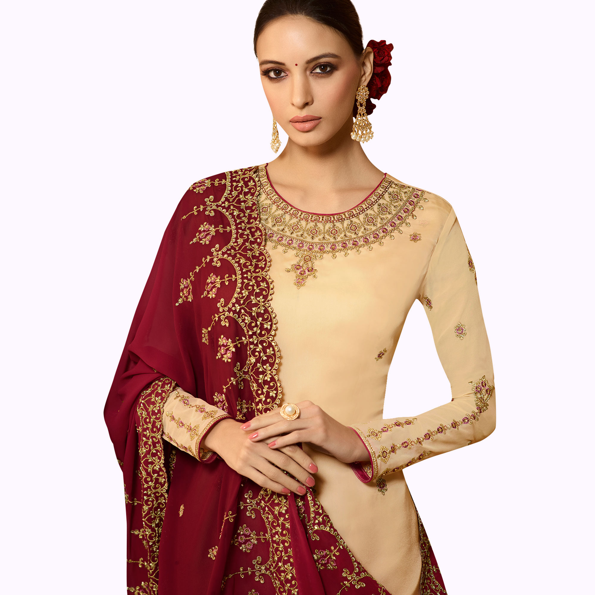 Prominent Beige Colored Partywear Embroidered Satin Georgette Salwar Suit