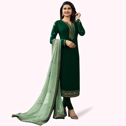 Impressive Dark Green Colored Partywear Embroidered Georgette Suit