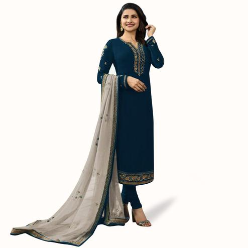 Mesmerising Blue Colored Partywear Embroidered Georgette Suit