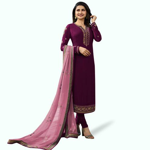 Pleasance Purple Colored Partywear Embroidered Georgette Suit