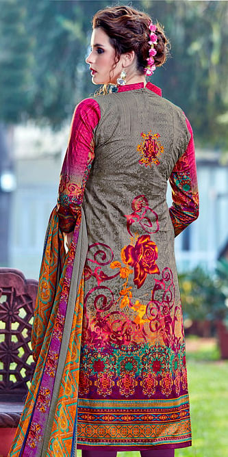 Multicolor - Purple Floral Printed Casual Wear Salwar Suit