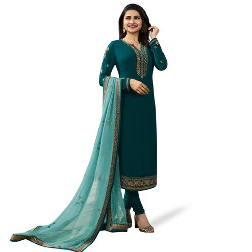 Flamboyant Teal Green Colored Partywear Embroidered Georgette Suit