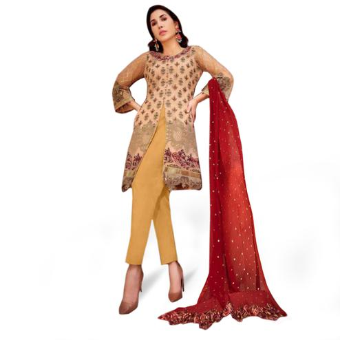 Delightful Beige Colored Partywear Embroidered Netted Suit