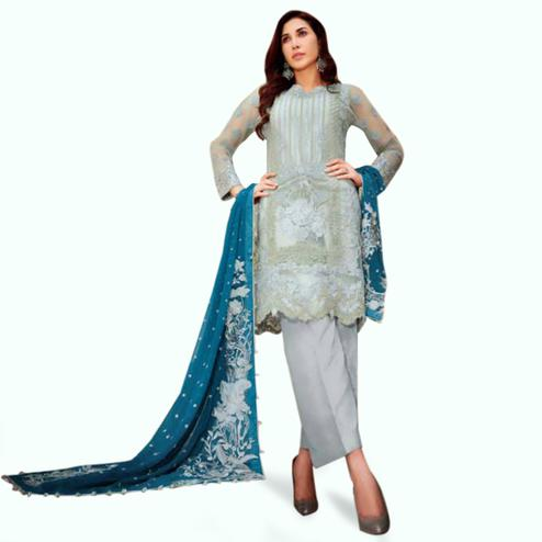 Engrossing Gray Colored Partywear Embroidered Netted Palazzo Suit