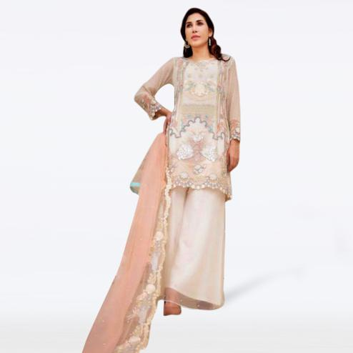 Innovative White Colored Partywear Embroidered Netted Palazzo Suit
