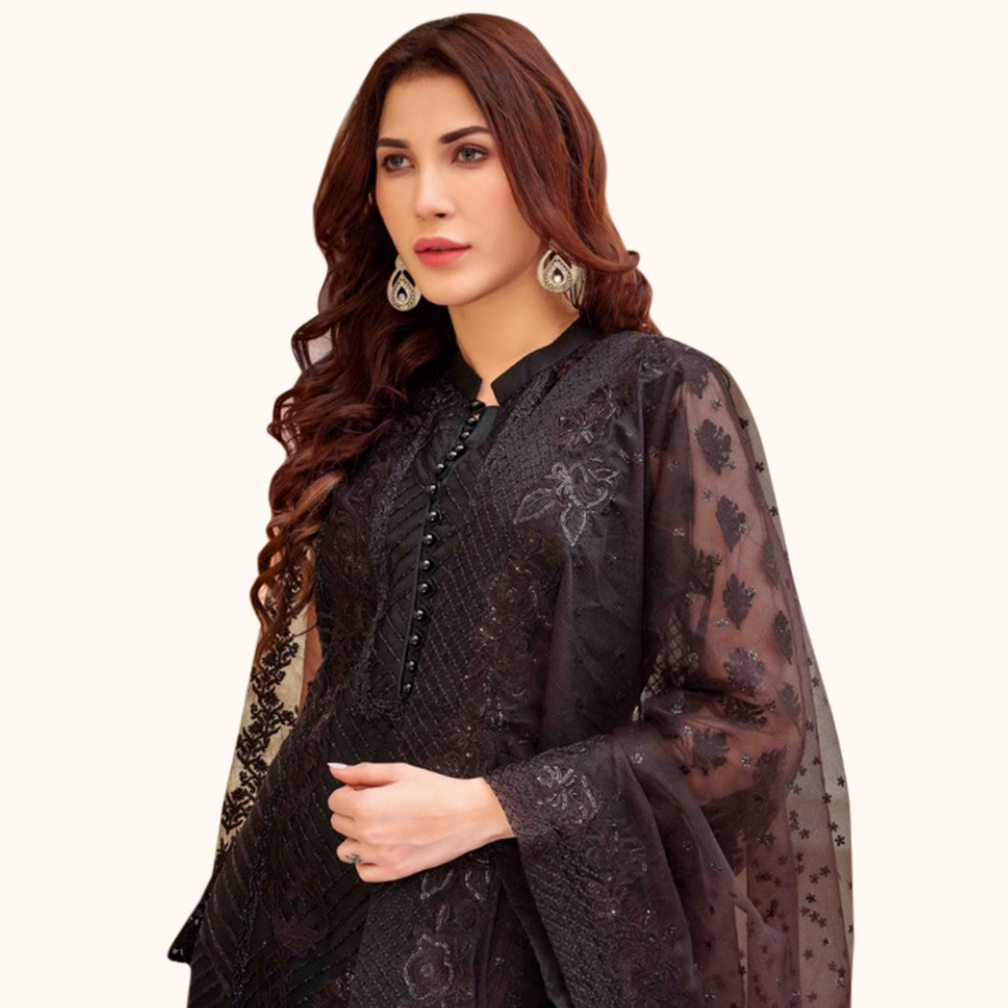 Eye-catching Black Colored Partywear Embroidered Netted Suit
