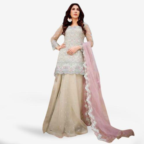 Fantastic Gray-White Colored Partywear Embroidered Netted Lehenga Kameez