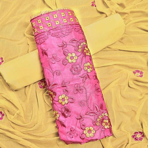 Adorable Pink Colored Partywear Embroidered Chanderi Silk Dress Material