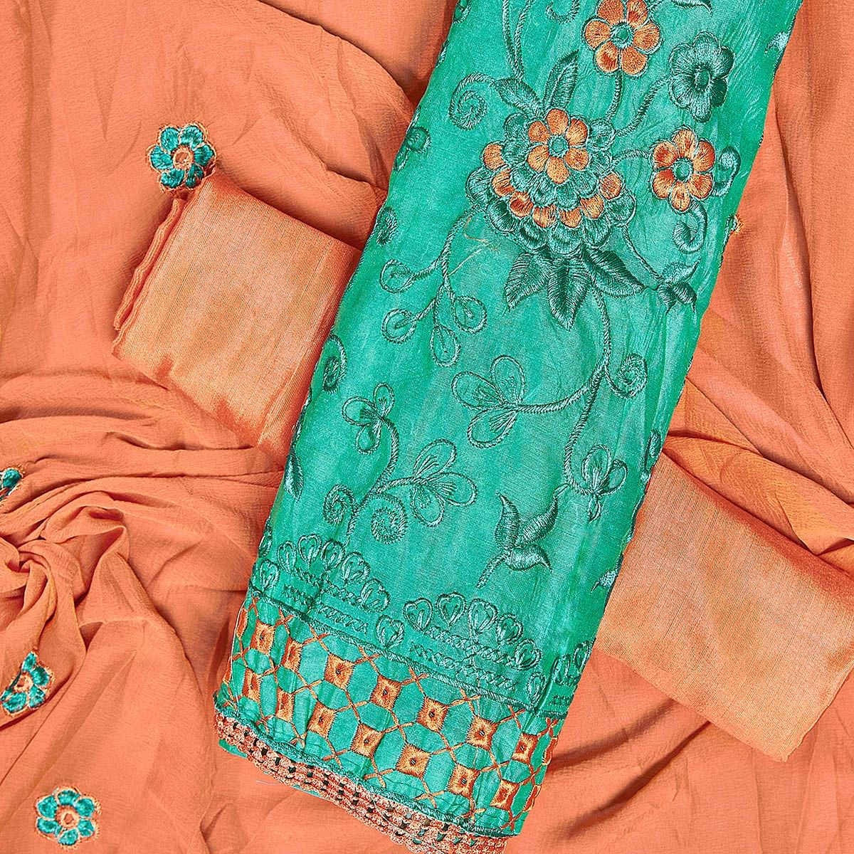 Glorious Turquoise Green Colored Partywear Embroidered Chanderi Silk Dress Material