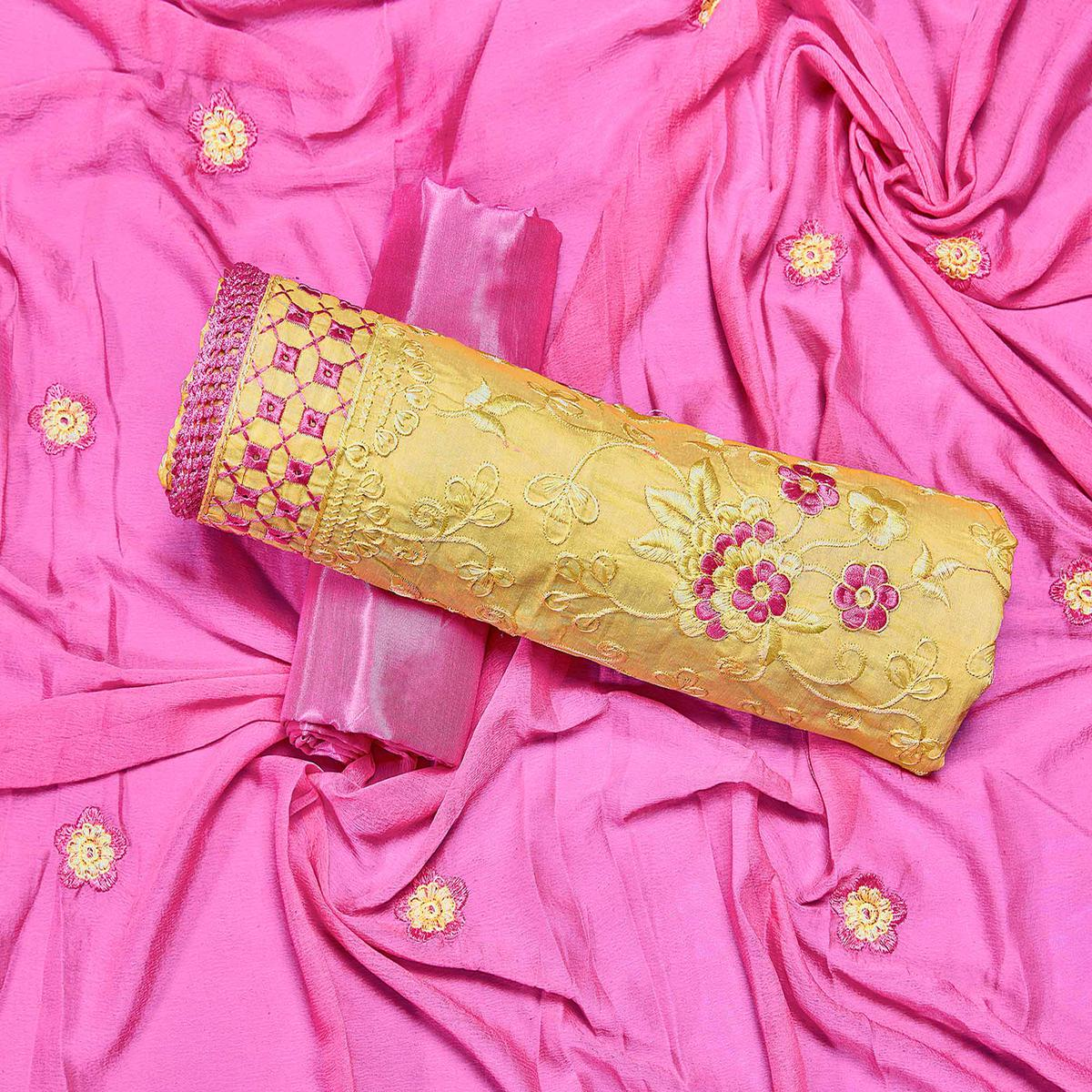 Attractive Yellow Colored Partywear Embroidered Chanderi Silk Dress Material