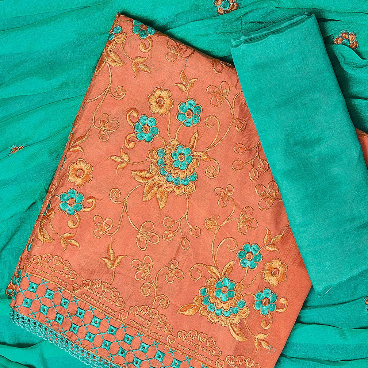 Beautiful Orange Colored Partywear Embroidered Chanderi Silk Dress Material