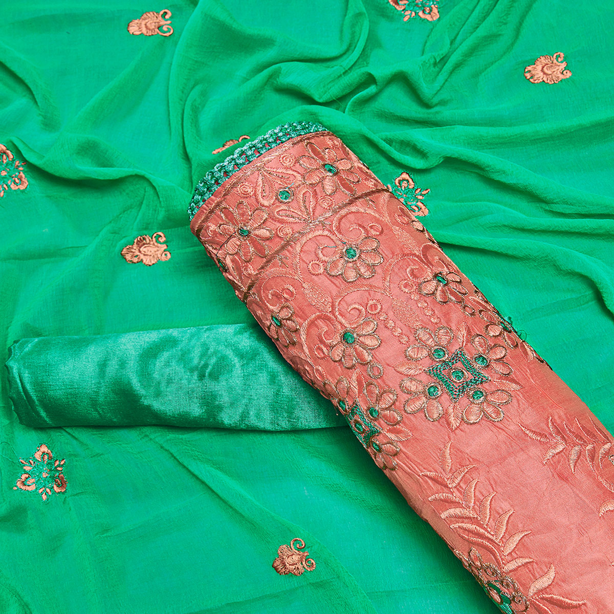 Mesmerising Gajri Colored Partywear Embroidered Chanderi Silk Dress Material