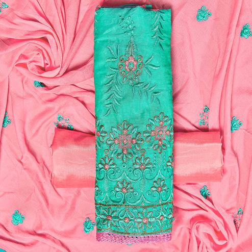 Special Turquoise Green Colored Partywear Embroidered Chanderi Silk Dress Material