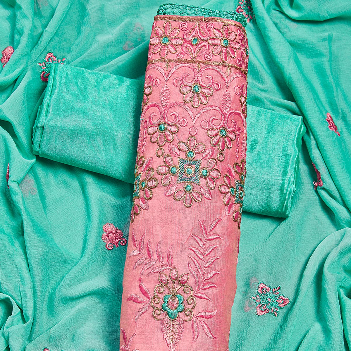 Refreshing Pink Colored Partywear Embroidered Chanderi Silk Dress Material