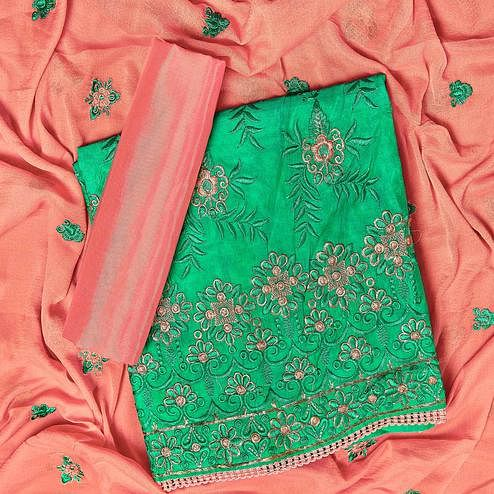 Adorning Green Colored Partywear Embroidered Chanderi Silk Dress Material