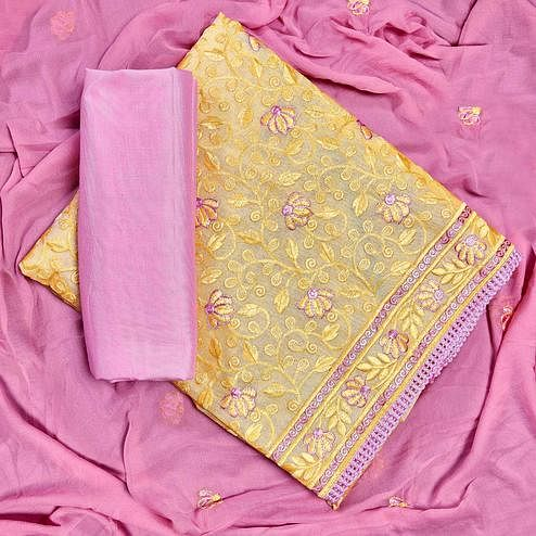 Blooming Yellow Colored Partywear Embroidered Chanderi Silk Dress Material