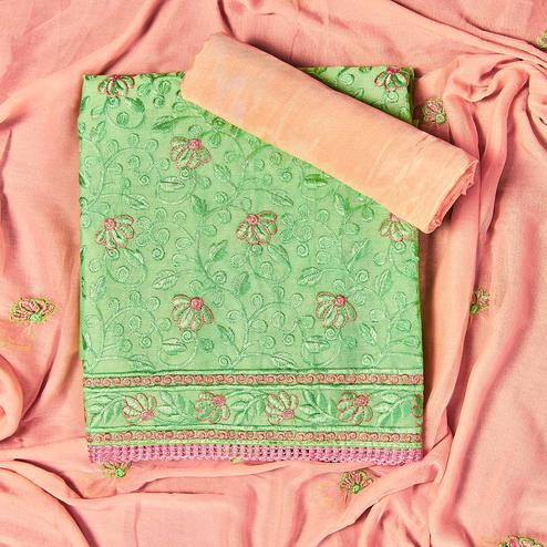 Charming Green Colored Partywear Embroidered Chanderi Silk Dress Material