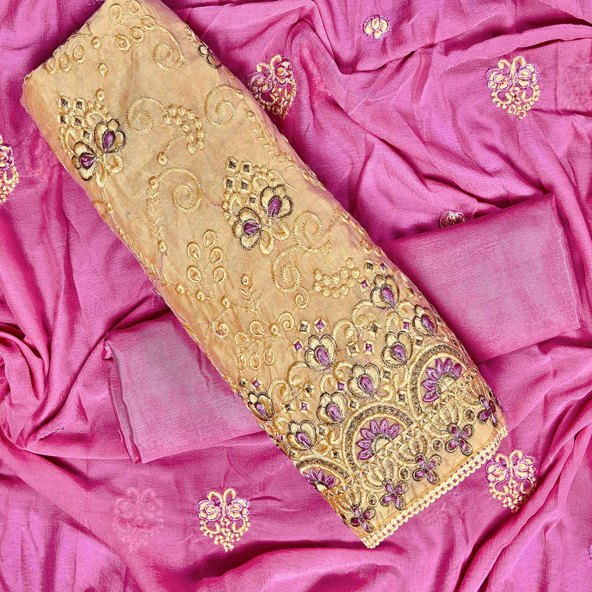 Engrossing Yellow Colored Partywear Embroidered Chanderi Silk Dress Material