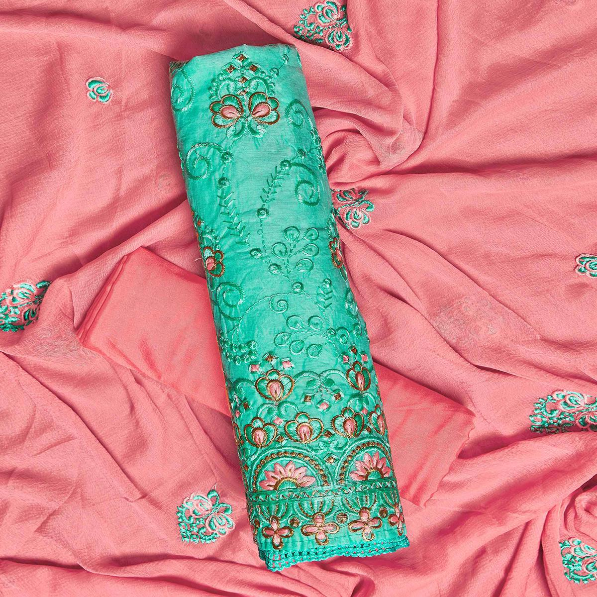 Captivating Turquoise Green Colored Partywear Embroidered Chanderi Silk Dress Material