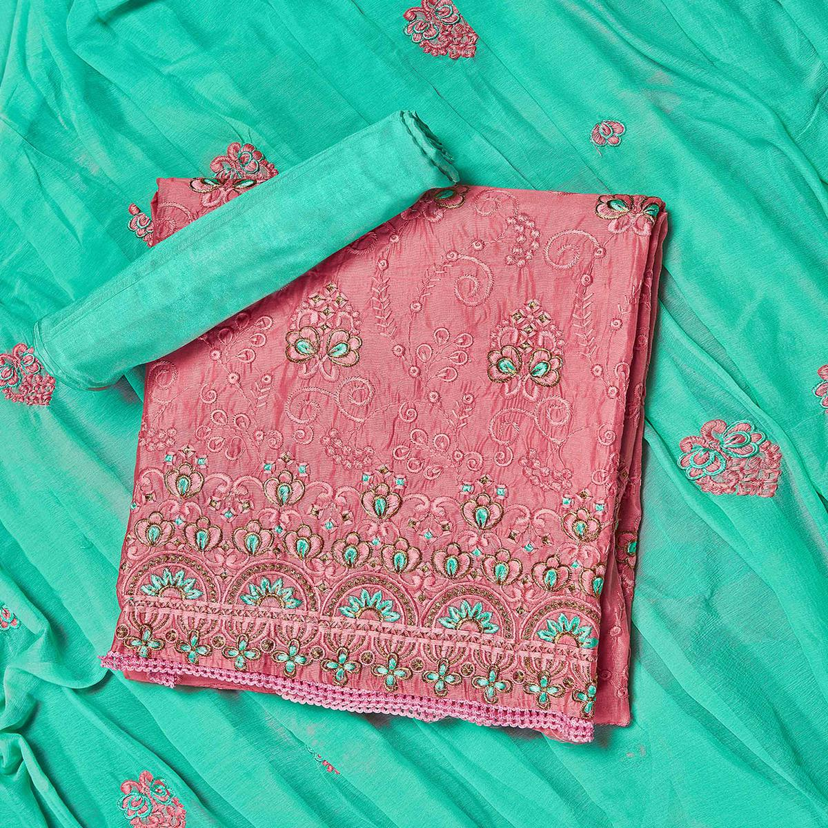 Delightful Pink-Green Colored Partywear Embroidered Chanderi Silk Dress Material