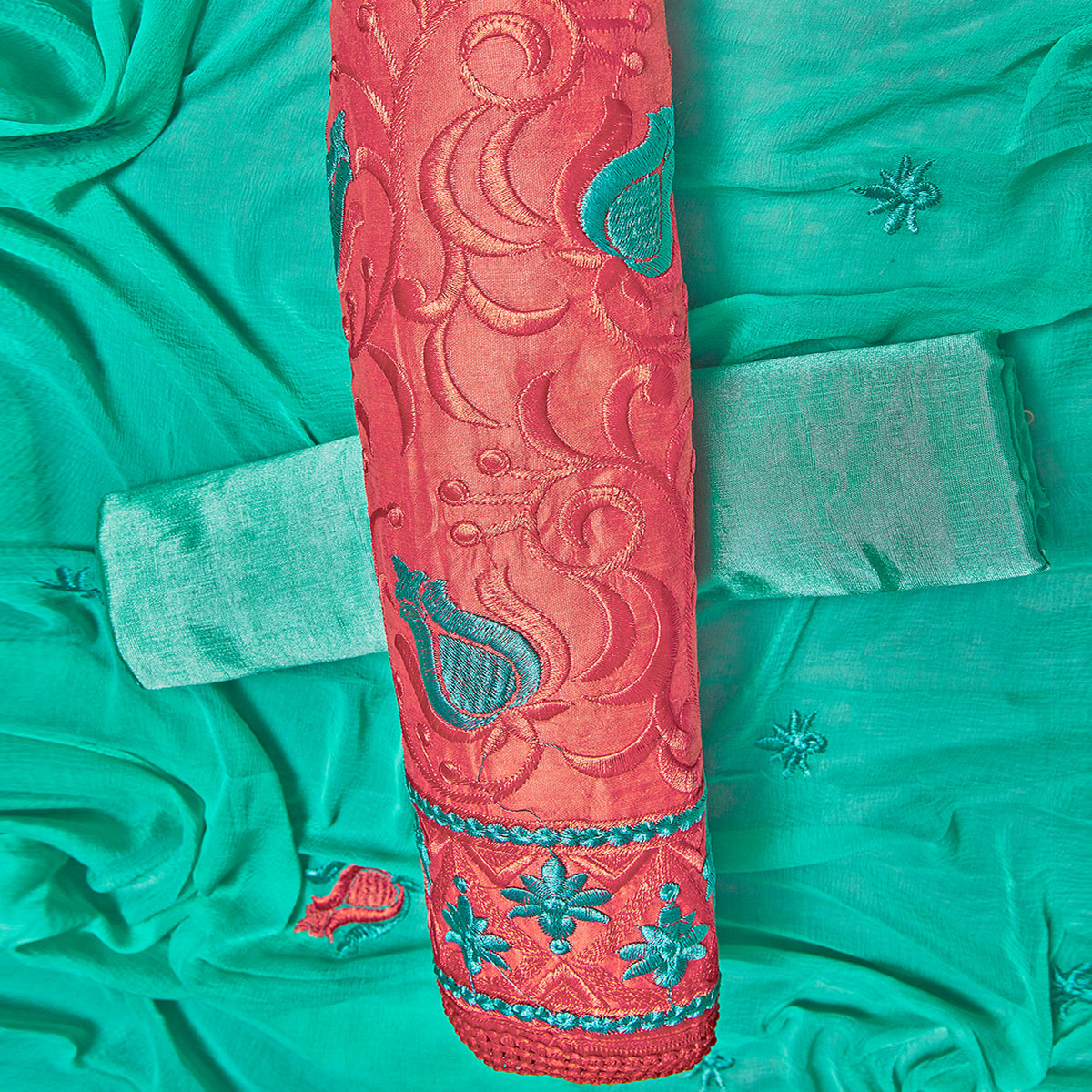 Eye-catching Red Colored Partywear Embroidered Chanderi Silk Dress Material