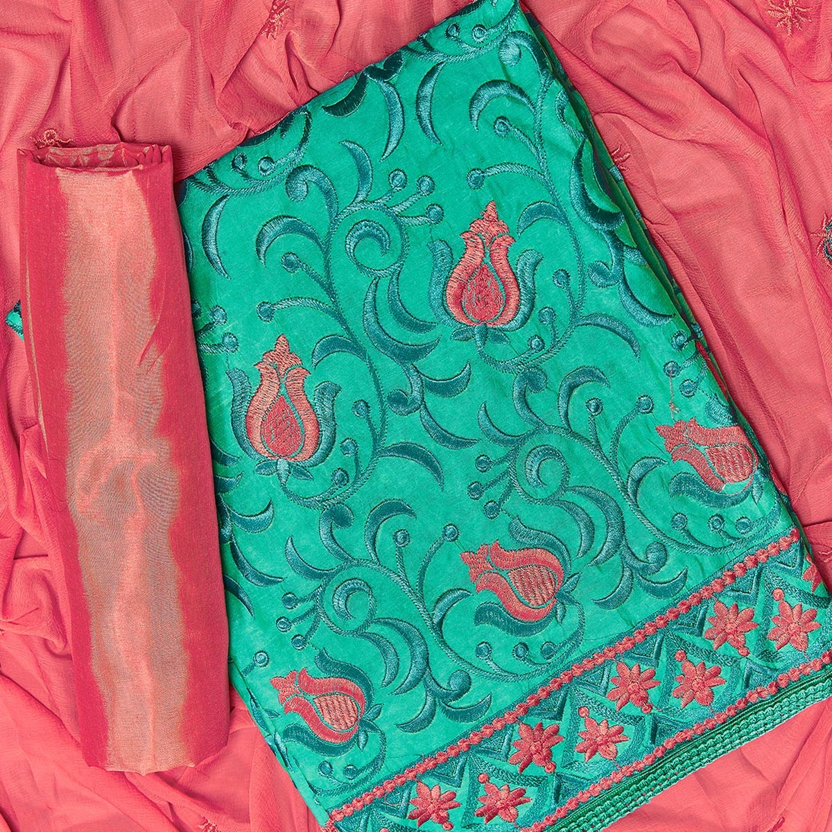 Fantastic Turquoise Green Colored Partywear Embroidered Chanderi Silk Dress Material