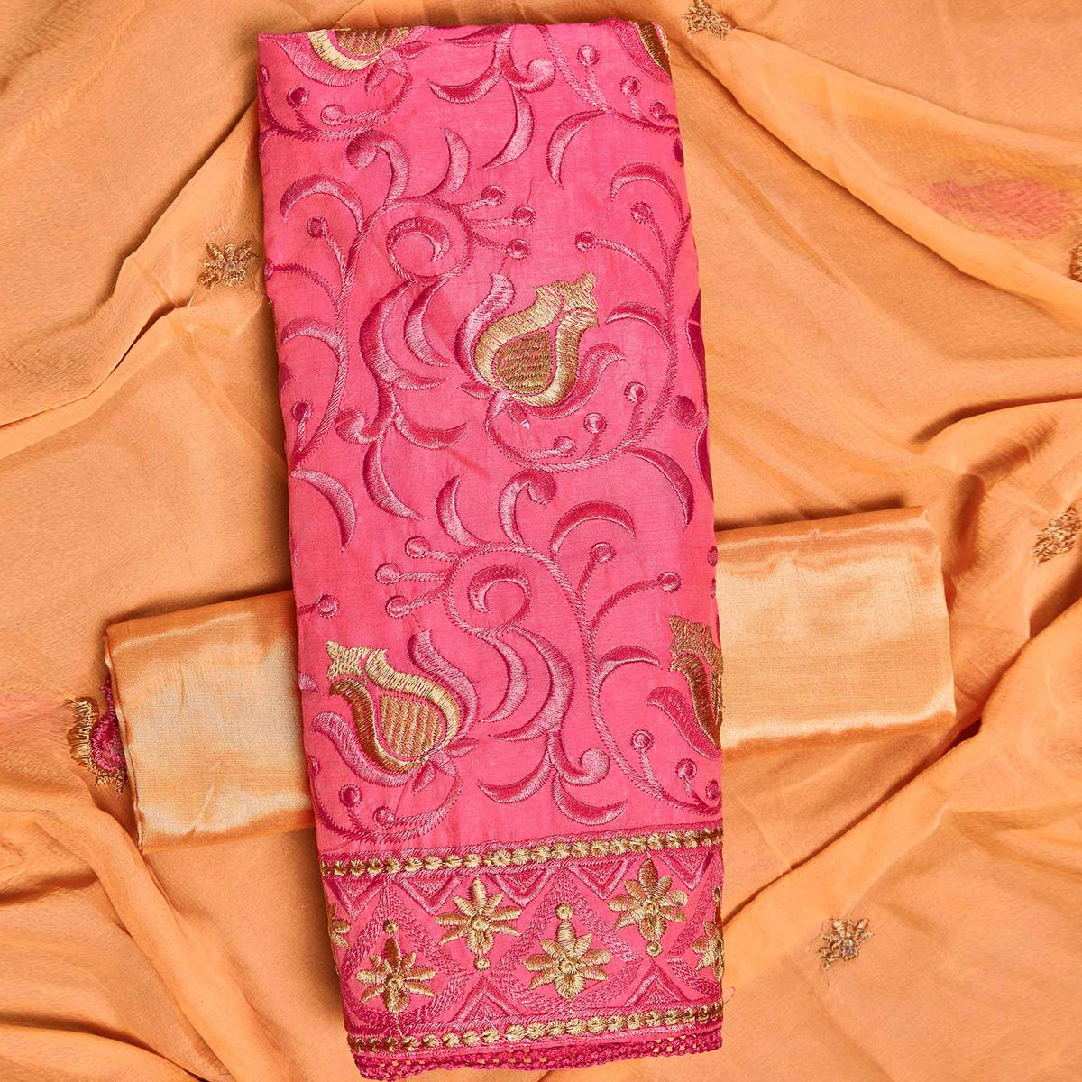 Amazing Pink Colored Partywear Embroidered Chanderi Silk Dress Material