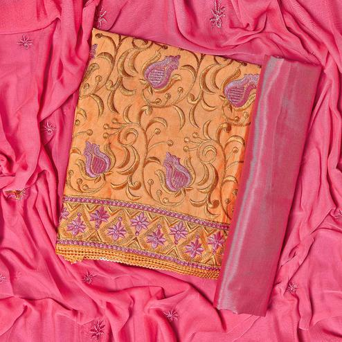 Gorgeous Orange Colored Partywear Embroidered Chanderi Silk Dress Material