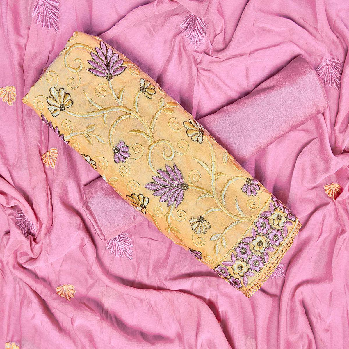 Ideal Yellow Colored Partywear Embroidered Chanderi Silk Dress Material