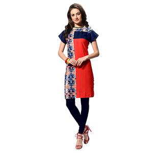 Red - Navy Blue Printed Stitched Kurti