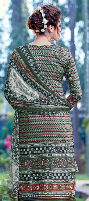 Olive Green Cambric Cotton Casual Wear Printed Salwar Suit