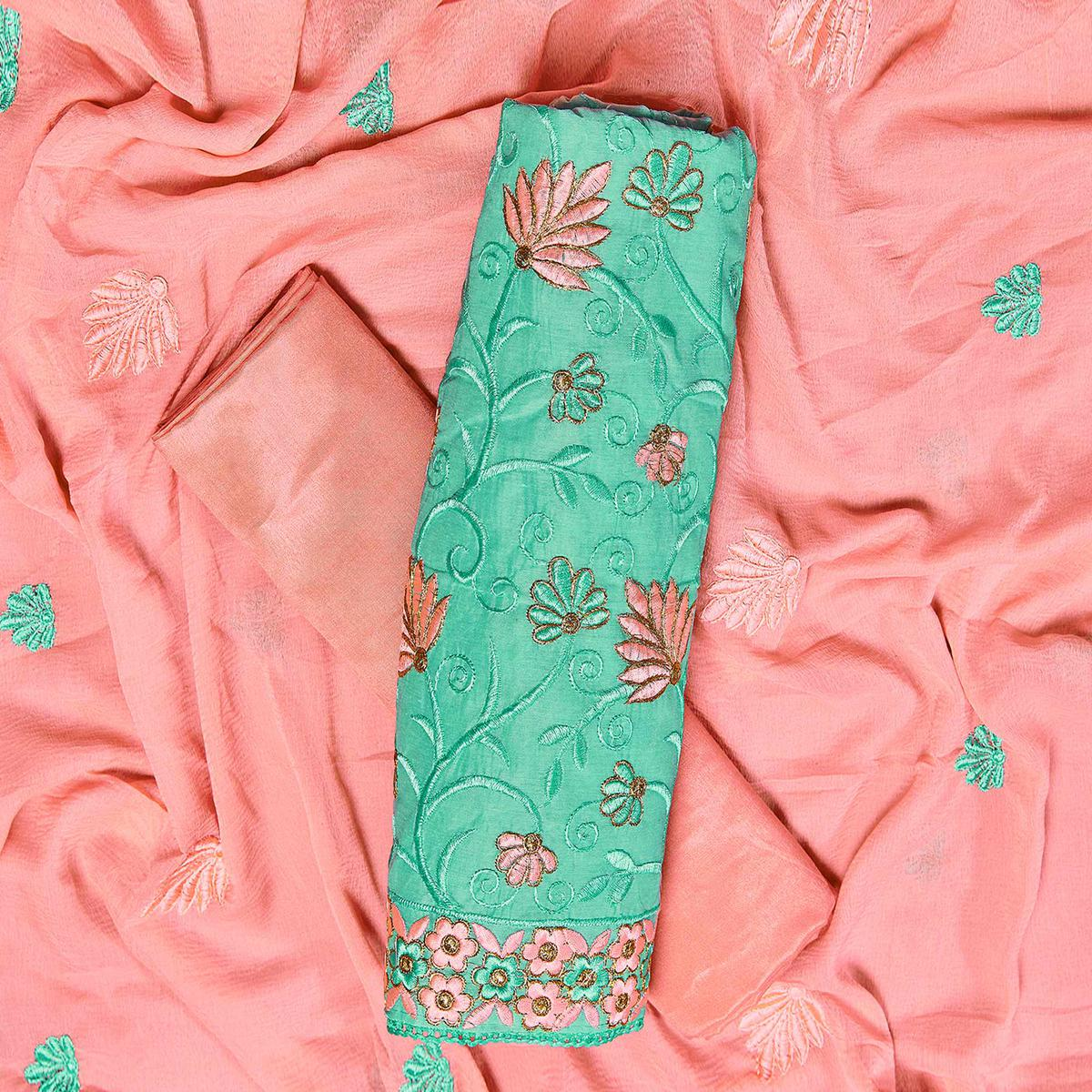 Imposing Turquoise Green Colored Partywear Embroidered Chanderi Silk Dress Material