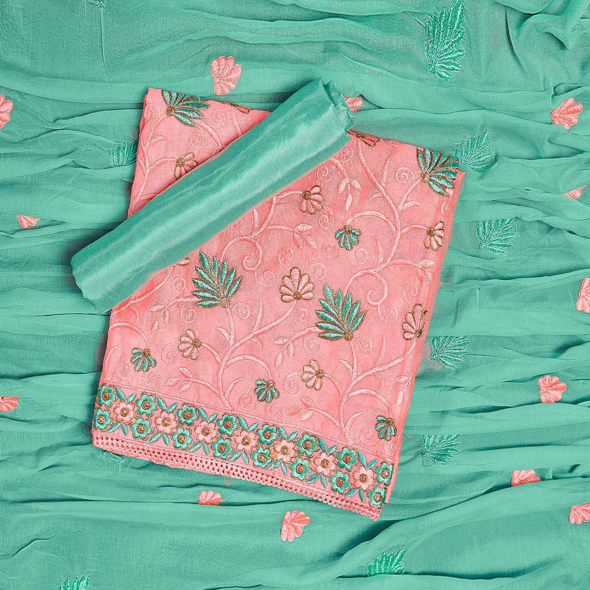 Lovely Pink-Green Colored Partywear Embroidered Chanderi Silk Dress Material