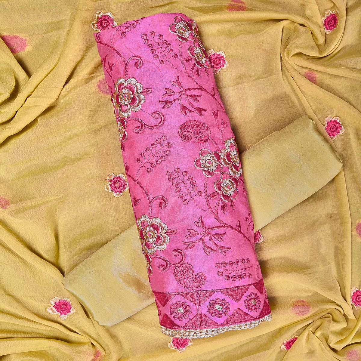 Majesty Pink Colored Partywear Embroidered Chanderi Silk Dress Material