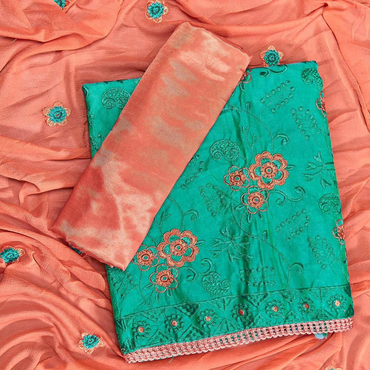 Impressive Turquoise Green Colored Partywear Embroidered Chanderi Silk Dress Material