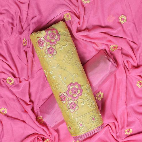 Special Yellow Colored Partywear Embroidered Chanderi Silk Dress Material