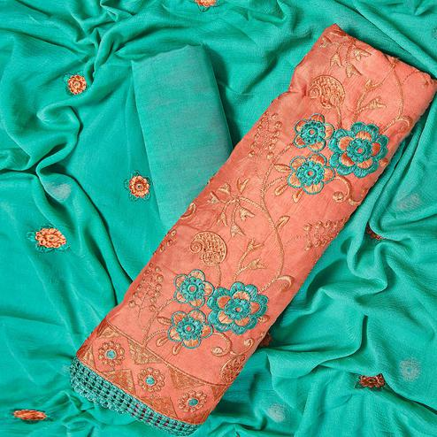 Mesmerising Orange Colored Partywear Embroidered Chanderi Silk Dress Material