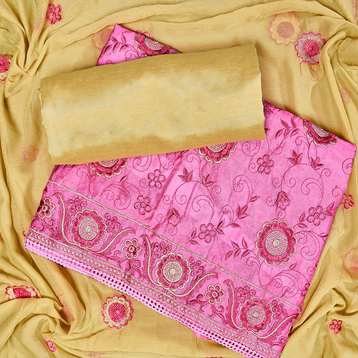Pleasance Pink Colored Partywear Embroidered Chanderi Silk Dress Material
