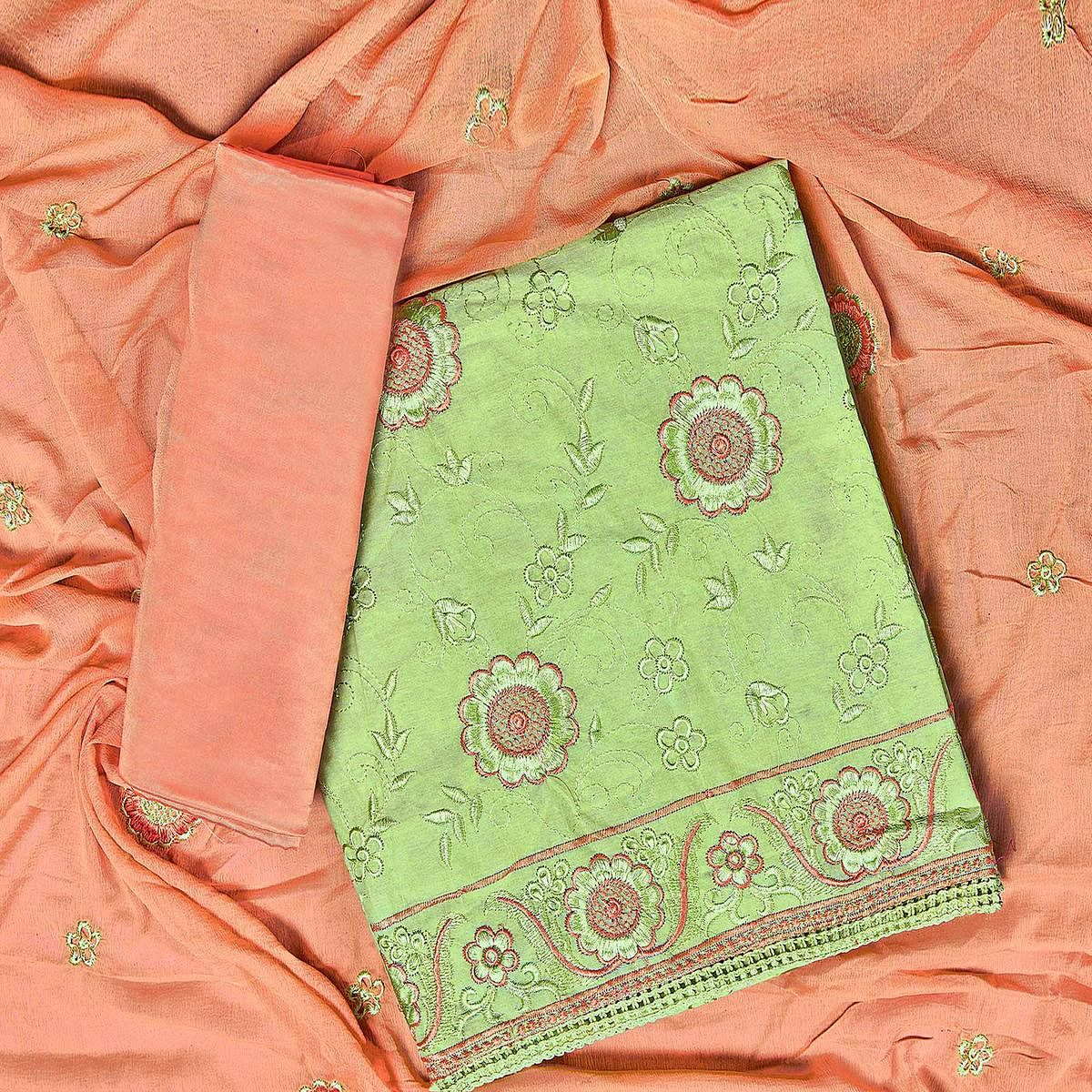 Ravishing Green Colored Partywear Embroidered Chanderi Silk Dress Material