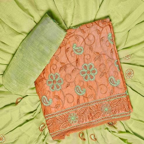 Surpassing Orange Colored Partywear Embroidered Chanderi Silk Dress Material