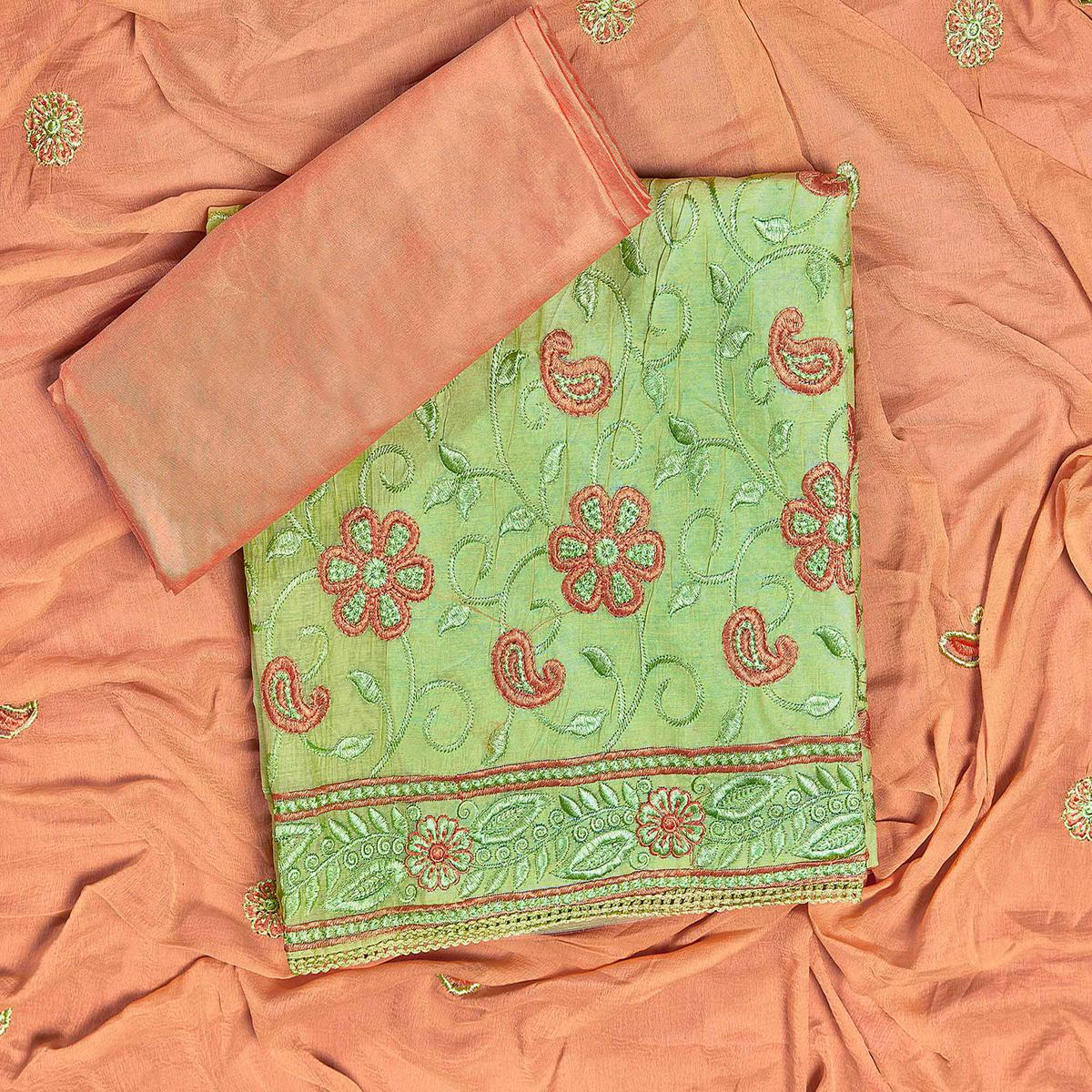 Flirty Green Colored Partywear Embroidered Chanderi Silk Dress Material