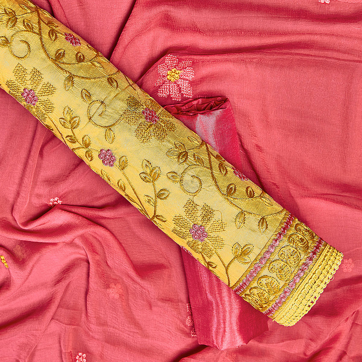 Flaunt Yellow Colored Partywear Embroidered Chanderi Silk Dress Material