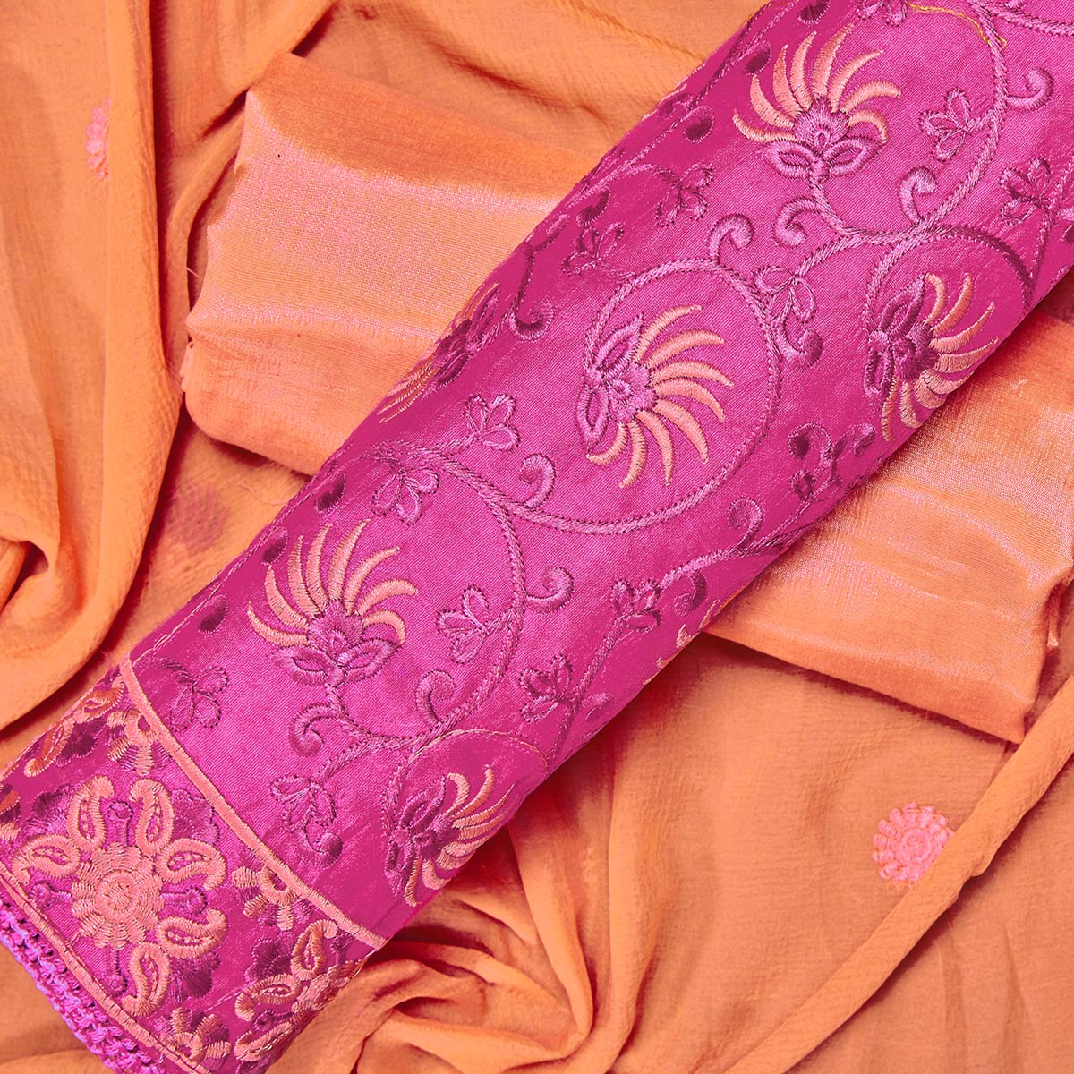 Preferable Pink Colored Partywear Embroidered Chanderi Silk Dress Material