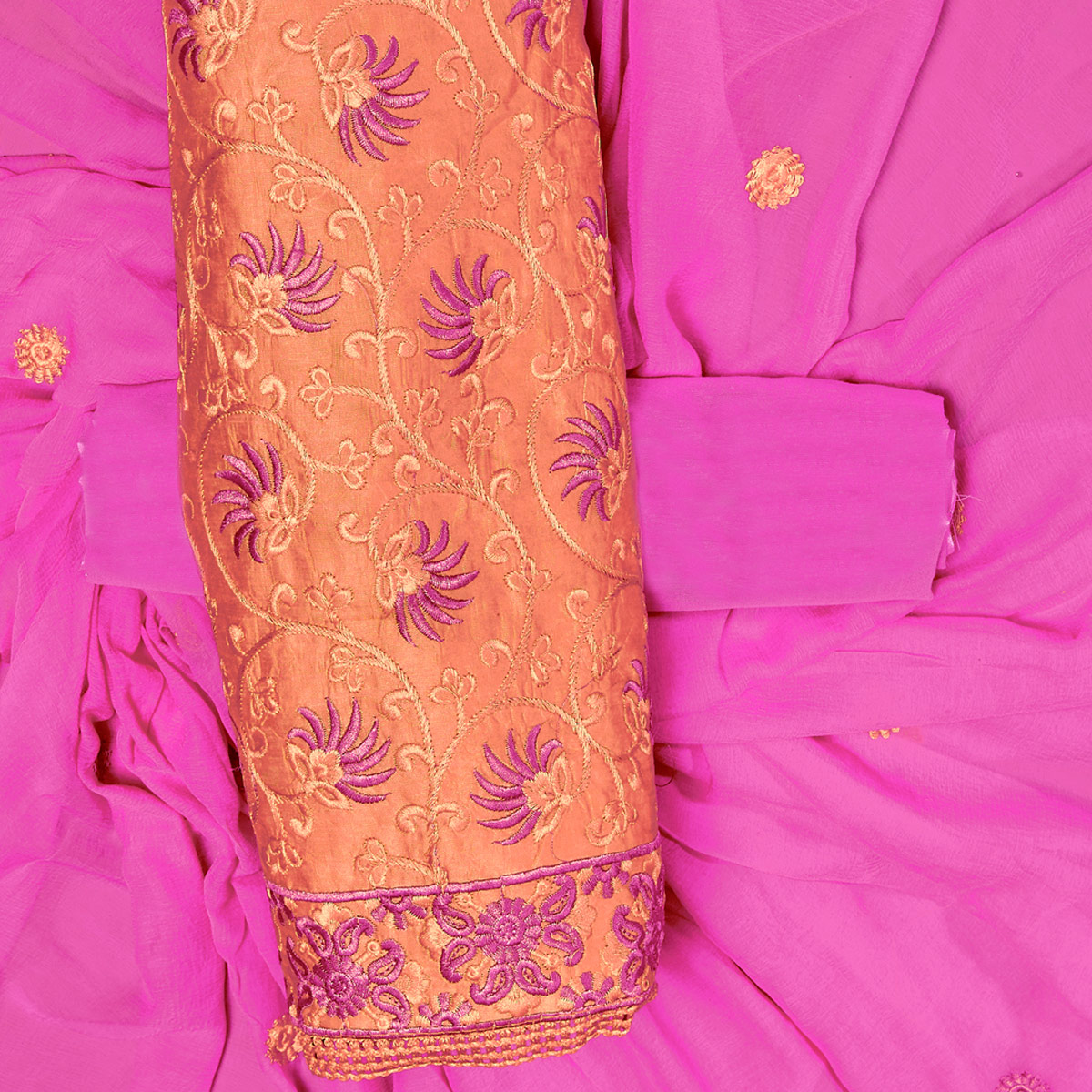 Excellent Orange Colored Partywear Embroidered Chanderi Silk Dress Material