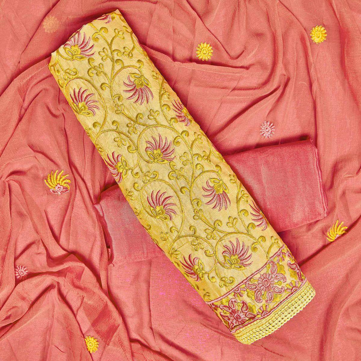 Flattering Yellow Colored Partywear Embroidered Chanderi Silk Dress Material